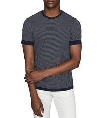 men's reiss ray slim fit stripe crewneck t-shirt, size xx-large - blue