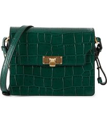 marge sherwood women's brick croc-embossed leather shoulder bag - green croc
