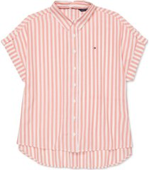 tommy hilfiger adaptive women's everglades seated striped shirt with magnetic buttons