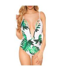 trendy zwempak-badpak xl v-hals opening met print groen