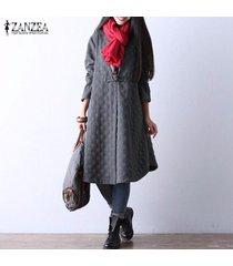 zanzea botón de manga larga de invierno de mujer chaqueta de abrigo informal suelta camisa vestido plus -gris