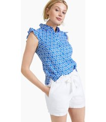 charter club linen geometric-print top, created for macy's
