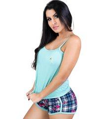 pijamas mvb modas curto adulto regata e short doll verde