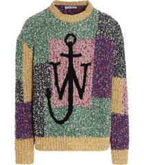j.w. anderson anchor patchwork crewneck jumper sweater