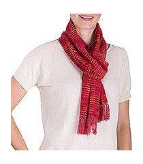rayon chenille scarf, 'aurora red love' (guatemala)