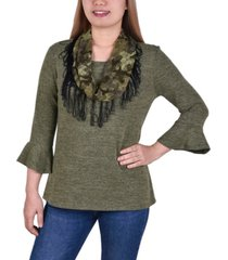 women's 3/4 sleeve top with detachable fringed scarf