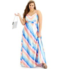 city studios trendy plus size ombre rainbow stripe gown, created for macy's