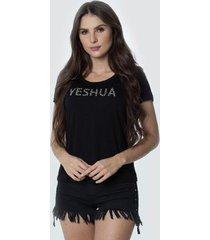 t-shirt daniela cristina gola u profundo 02 602dc10296 preto - preto - pp - feminino