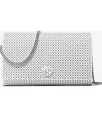 mk portafoglio con catena monogramme in pelle con borchie - bianco ottico (bianco) - michael kors