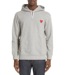 men's comme des garcons play red heart hoodie, size medium - grey