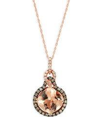 chocolatier® 14k strawberry gold® peach morganite™, chocolate diamond® & vanilla diamond® pendant necklace