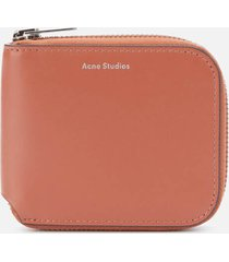 acne studios men's kei s compact zip wallet - almond brown