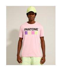 camiseta de algodão cartela de cores manga curta gola careca pantone rosa