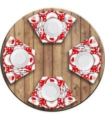 jogo americano   para mesa redonda wevans papai noel 4 peças.  love decor