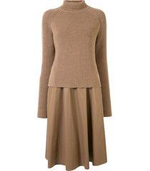 drome roll-neck dress and jumper set - brown