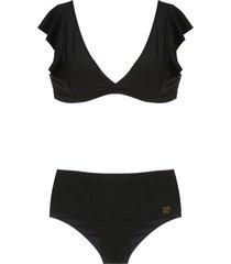 brigitte ruffled bikini set - black