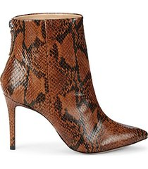 snake-print leather booties