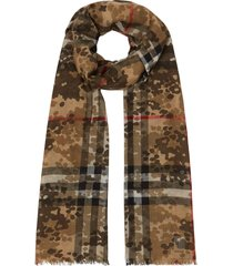 burberry camouflage check scarf - brown