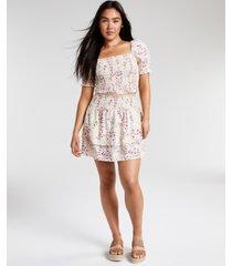 dizzy lizzy floral-print smocked skirt