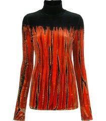 proenza schouler tie-dye velvet turtleneck top - orange