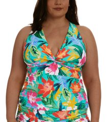 la blanca plus size tropical twist tankini top women's swimsuit