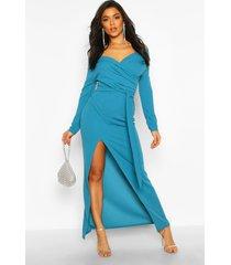 bruidsmeisjes maxi jurk met split en open schouders, blauwgroen