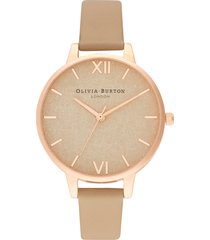 women's olivia burton woven dial leather strap watch, 34mm