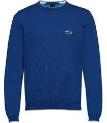 riston_w20 stickad tröja m. rund krage blå boss