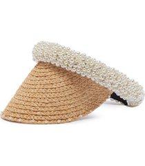pearl embellished straw visor