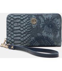 rectangular wallet reptile skin effect - blue - u