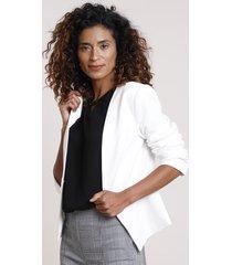 blazer feminino acinturado com aviamento off white