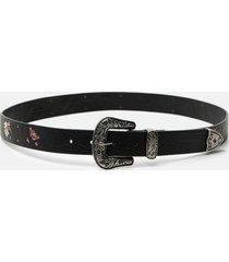 embroidered boho belt - black - 95