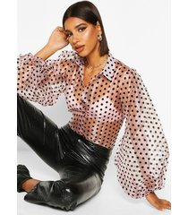 organza polka dot balloon sleeve blouse, blush