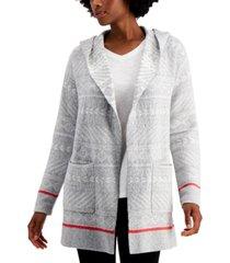 style & co hooded fair isle cardigan, created for macy's