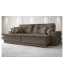 sofá palermo 2,40m retrátil e reclinável velosuede marrom - netsofas
