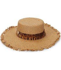 animal-print band straw hat