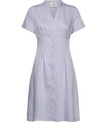 stripy visco difola jurk knielengte blauw mads nørgaard