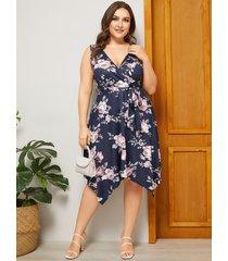 yoins plus talla azul marino cinturón diseño estampado floral escote en v sin mangas vestido