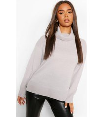 roll neck tunic length chunky sweater, silver grey