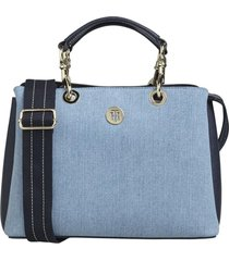 cartera th med satchel denim azul tommy hilfiger