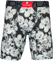 cueca boxer long leg kevland floral dark preto - preto - masculino - dafiti