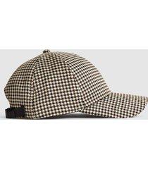 reiss harley - checked baseball cap in black/cream, mens