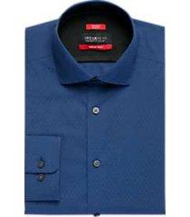 awearness kenneth cole awear-tech navy slim fit dress shirt