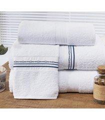 jogo de toalhas (banho e rosto) super grande coleção antilhas azul e branco algodão 200 fios com 5 peças - bernadete casa
