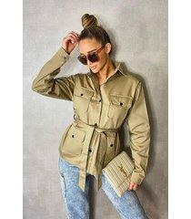 double pocket belted utility jacket, stone
