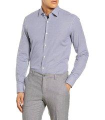 men's big & tall boss slim fit check dress shirt, size 18 - blue