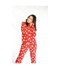 pijama adulto feminino longo aberto liganete estampado rosa poá bolas