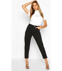 mid rise boyfriend jeans, zwart