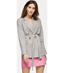 gray belted double breasted suit blazer - grey