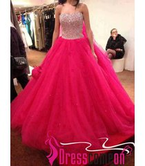 2015 new ball gown sweetheart long tulle hot pink quinceanera dresses/prom dress